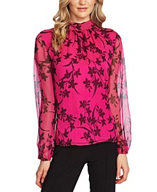 Printed Mock-Neck Top