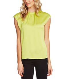 Vince Camuto Cap-Sleeve Satin Top