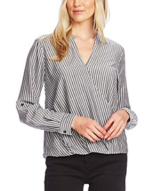 Striped Faux-Wrap Blouse