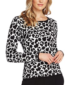 Vince Camuto Leopard-Print Jacquard Top