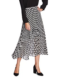 Houndstooth Asymmetrical Midi Skirt