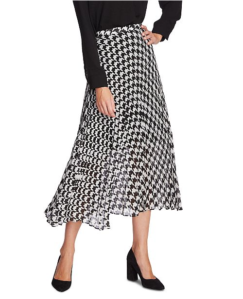 Vince Camuto Houndstooth Asymmetrical Midi Skirt