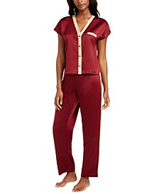 I.N.C. Metallic-Trim Matte Satin Pajama Set, Created For Macy's