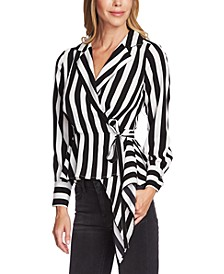 Striped Tie-Waist Asymmetrical-Hem Top
