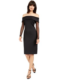 Calvin Klein Off-The-Shoulder Illusion-Sleeve Dress