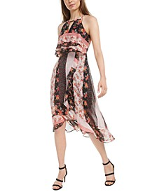 Mixed-Print High-Low Dress