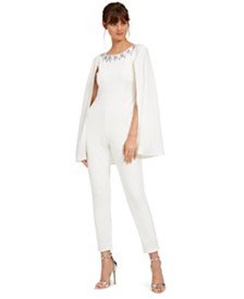 Adrianna Papell Embellished Cape Jumpsuit