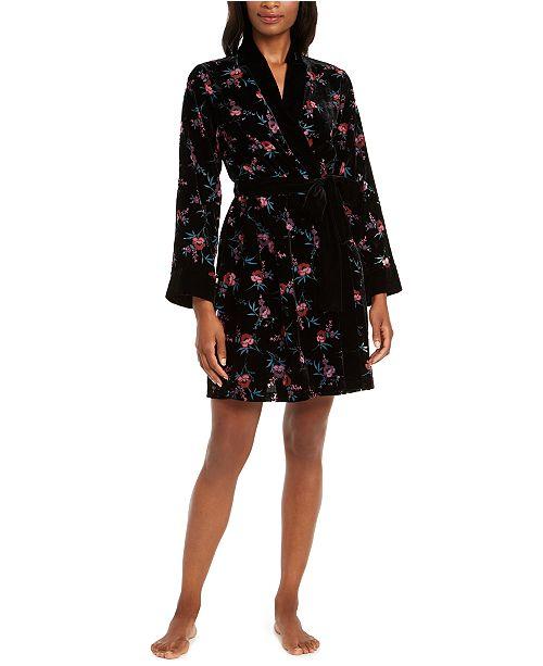 INC International Concepts INC Floral-Print Burnout Velvet Wrap Robe, Created For Macy's