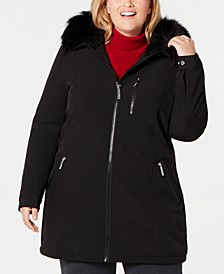 Plus Size Faux-Fur-Trim Hooded Raincoat