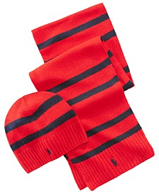 Polo Ralph Lauren Men's Rugby Stripe Hat & Scarf Set