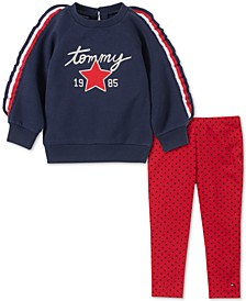 Toddler Girls Striped Sweatshirt & Star-Print Leggings Set