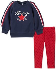 Little Girls Striped Sweatshirt & Star-Print Leggings Set