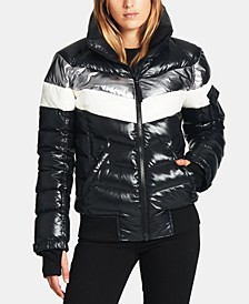 Retro Stripe Bomber Down Hooded Puffer Coat