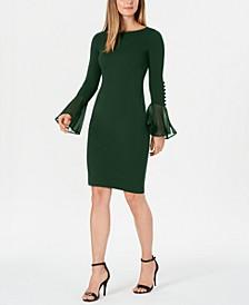 Chiffon Button-Sleeve Dress