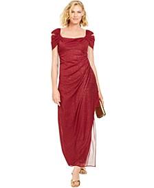 Cold-Shoulder Draped Metallic Gown, Regular & Petite Sizes