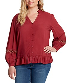 Trendy Plus Size Arya Embroidered Top