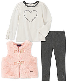 Calvin Klein Toddler Girls Faux-Fur Vest, Heart Sweater & Leggings Set