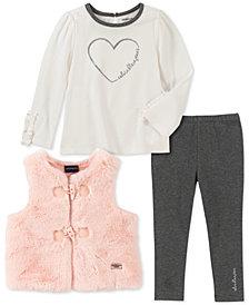 Calvin Klein Little Girls Faux-Fur Vest, Heart Sweater & Leggings Set