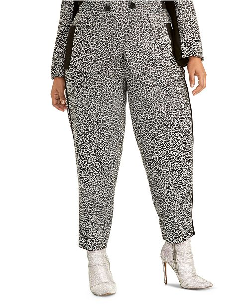RACHEL Rachel Roy Trendy Plus Size Agatha Animal-Print Pants