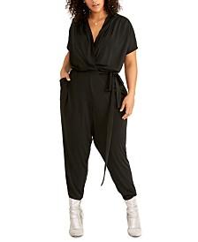 RACHEL Rachel Roy Trendy Plus Size Finn Knit Crossover Jumpsuit