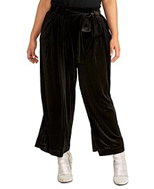 Trendy Plus Size Rose Belted Pants