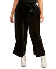 RACHEL Rachel Roy Trendy Plus Size Rose Belted Pants