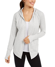 Ideology Ruched-Back Open Hooded Cardigan, Created for Macy's