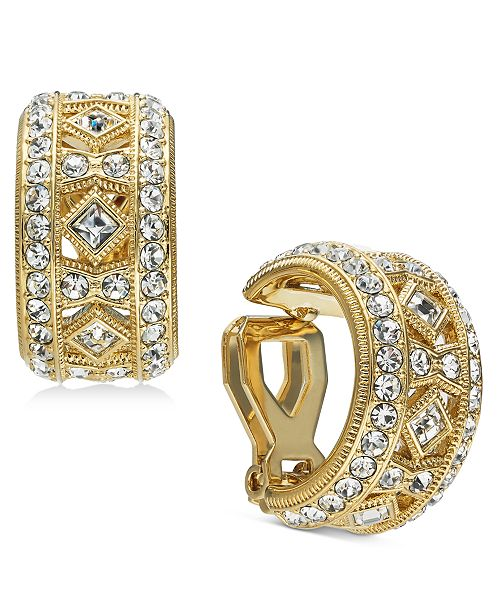 Eliot Danori Danori Gold-Tone Crystal Filigree Clip-On Huggie Hoop Earrings, Created For Macy's