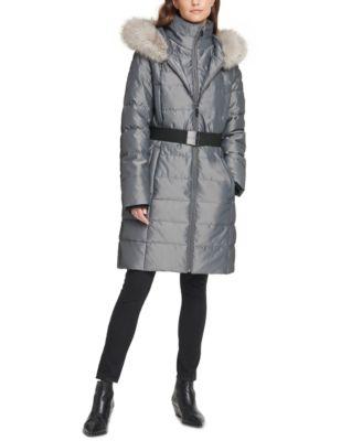 Iridescent Hooded Faux-Fur-Trim Puffer Coat