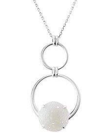 "Circle & Druzy Stone Pendant Necklace, 32"" + 2"" extender"