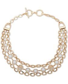 "Lauren Ralph Lauren Gold-Tone & Imitation Pearl Crest 17"" Statement Necklace"