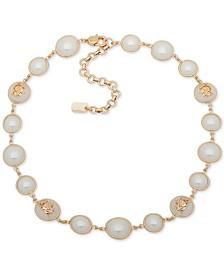 "Lauren Ralph Lauren Gold-Tone & Imitation Pearl Crest Collar Necklace, 16"" + 3"" extender"