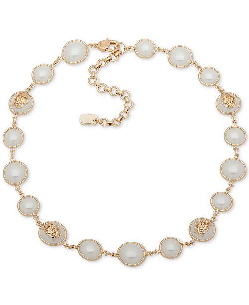 """Lauren Ralph Lauren Gold-Tone & Tortoise-Look Crest Collar Necklace, 16"""" + 3"""" extender"""