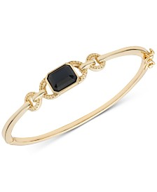 Lauren Ralph Lauren Gold-Tone Studded Link & Stone Bangle Bracelet