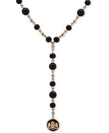 """Lauren Ralph Lauren Gold-Tone Crest Beaded Lariat Necklace, 24"""" + 3"""" extender"""