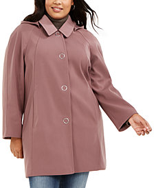 London Fog Plus Size Raglan-Sleeve Raincoat