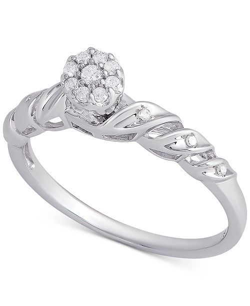 Macy's Diamond Cluster Promise Ring (1/6 ct. t.w.) in Sterling Silver