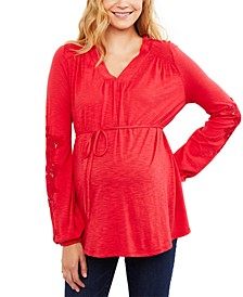 Maternity Top with Lace Sleeve