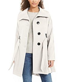 Juniors'  Belted Drama Skirted Coat, Created for Macy's