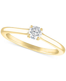 Certified Diamond Solitaire Engagement Ring (1/4 ct. t.w.) in 14k White Gold