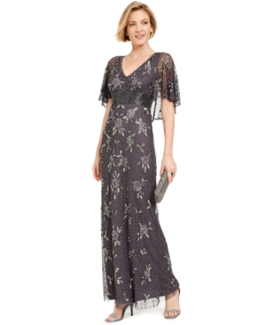 Edwardian Evening Gowns | Victorian Evening Dresses Adrianna Papell Beaded Capelet Gown $369.00 AT vintagedancer.com