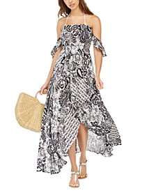 Printed Off-the-Shoulder High-Low Maxi Cover-up Dress