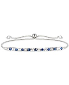 Sapphire (1/2 ct. t.w.) & Diamond (1/20 ct. t.w.) Bolo Bracelet in 14k Gold (Also Available in Certified Ruby & Emerald)