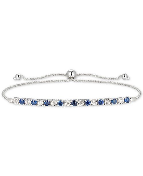 Macy's Sapphire (1/2 ct. t.w.) & Diamond (1/20 ct. t.w.) Bolo Bracelet in 14k Gold (Also Available in Certified Ruby & Emerald)