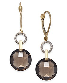 Smoky Quartz (12 ct. t.w.) & Diamond (1/6 ct. t.w.) Drop Earrings in 14k Gold