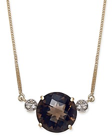 "Smoky Quartz (5-3/4 ct. t.w.) & Diamond (1/20 ct. t.w.) 16"" Pendant Necklace in 14k Gold"