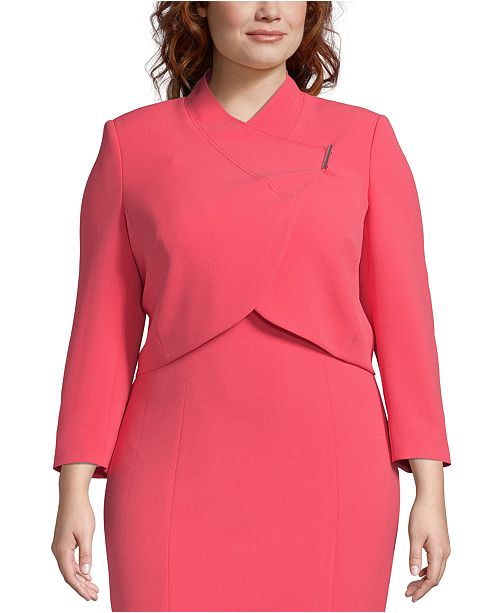 Plus Size Wrap-Jacket Dress Suit