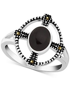 Genuine Swarovski Marcasite & Onyx Statement Ring in Fine Silver-Plate (Also in Reconstituted Turquoise)