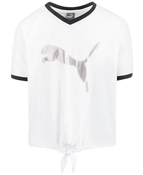 Puma Big Girls Tie Front Logo-Print T-Shirt