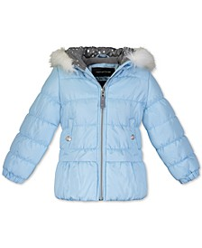 Toddler Girls Hooded Puffer Jacket With Faux-Fur Trim & Hat